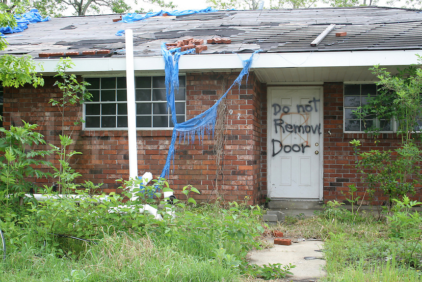 Hurricane Katrina damaged house abandoned Chalmette near New Orleans Louisiana