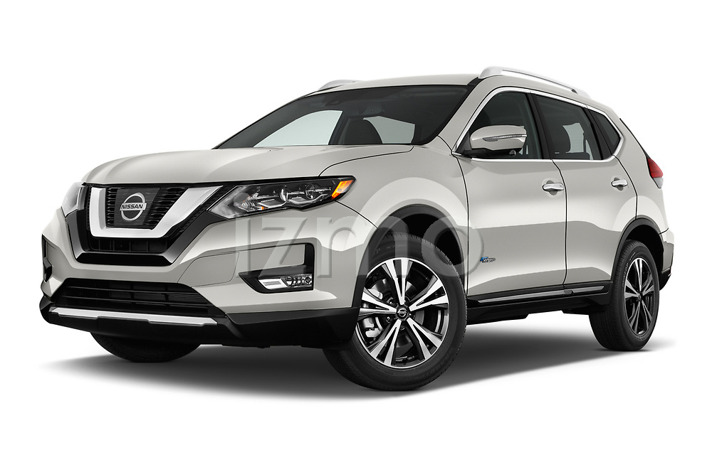 Stock pictures of low aggressive front three quarter view of 2017 Nissan Rogue SL-Hybrid 5 Door SUV Low Aggressive