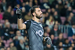 Goalkeeper Rui Patricio of Sporting CP gestures during the UEFA Champions League 2017-18 match between FC Barcelona and Sporting CP at Camp Nou on 05 December 2017 in Barcelona, Spain. Photo by Vicens Gimenez / Power Sport Images