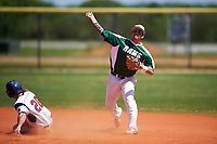 Farmingdale State Rams second baseman Nick Osburn (5) throws to first base as Garrett Ruoff (20) slides in to second base during the first game of a doubleheader against the FDU-Florham Devils on March 15, 2017 at Lake Myrtle Park in Auburndale, Florida.  Farmingdale defeated FDU-Florham 6-3.  (Mike Janes/Four Seam Images)