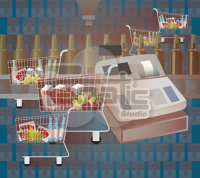 Shopping cart in a supermarket