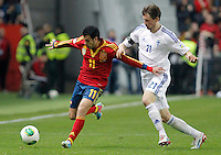 Spain's Padro Rodriguez (l) and Finland's Hamalainen during international match of the qualifiers for the FIFA World Cup Brazil 2014.March 22,2013.(ALTERPHOTOS/Victor Blanco)