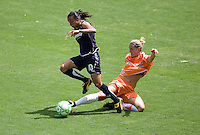 Sky Blue's Jen Buczkowski tackles LA Sol's Marta during the WPS Championship match. The Sky Blue FC defeated the LA Sol 1-0 to win the WPS Final Championship match at Home Depot Center stadium in Carson, California on Saturday, August 22, 2009...