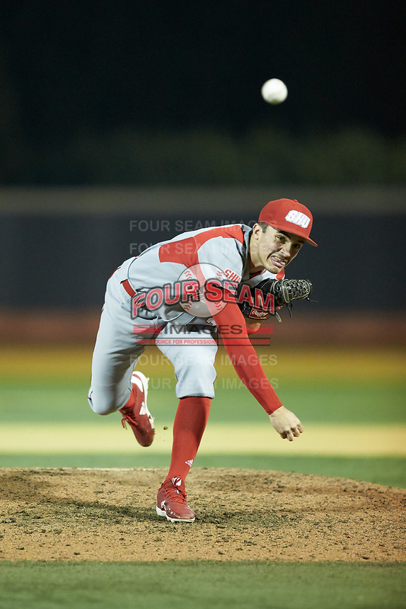 Sacred Heart Pioneers relief pitcher Julian Pedrouzo (23) delivers a pitch to the plate against the Wake Forest Demon Deacons at David F. Couch Ballpark on February 15, 2019 in  Winston-Salem, North Carolina.  The Demon Deacons defeated the Pioneers 14-1. (Brian Westerholt/Four Seam Images)