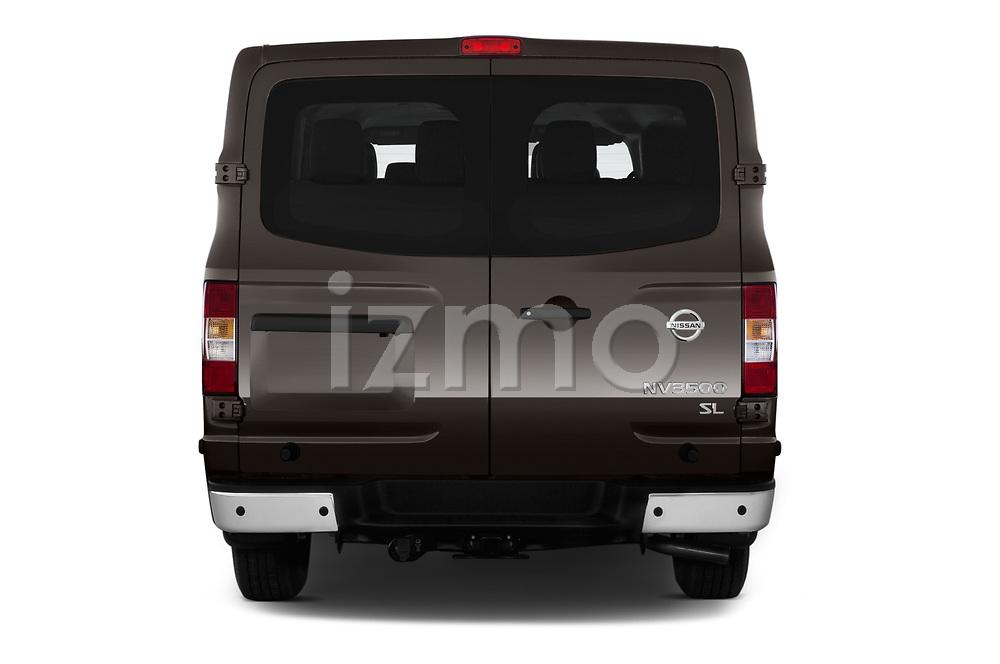 Straight rear view of a 2019 Nissan NV Passenger SL 4 Door Passenger Van stock images