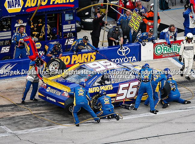 Martin Truex Jr., driver of the (56) NAPA Auto Parts Toyota, makes a pit stop during the Samsung Mobile 500 Sprint Cup race at Texas Motor Speedway in Fort Worth,Texas.