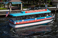 Ft. Lauderdale, Florida.  New River Riverwalk Water Trolley, Ferrying People across the New River.