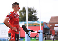 30th August 2020; Kingsholm Stadium, Gloucester, Gloucestershire, England; English Premiership Rugby, Gloucester versus Leicester Tigers; Jonny May of Gloucester is interviewed after the match