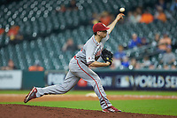 Louisiana Ragin' Cajuns relief pitcher Grant Cox (34) in action against the Kentucky Wildcats in game seven of the 2018 Shriners Hospitals for Children College Classic at Minute Maid Park on March 4, 2018 in Houston, Texas.  The Wildcats defeated the Ragin' Cajuns 10-4. (Brian Westerholt/Four Seam Images)
