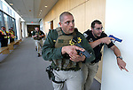 Carson City public safety agencies train in an armed assailant drill at the Carson City Courthouse in Carson City, Nev., on Saturday, Nov. 15, 2014.<br /> Photo by Cathleen Allison