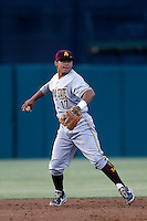 Drew Stankiewicz #17 of the Arizona State Sun Devils during a game against the USC Trojans at Dedeaux Field on April 12, 2013 in Los Angeles, California. USC defeated Arizona State, 5-0. (Larry Goren/Four Seam Images)