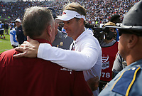 Ole Miss head coach Lane Kiffin meets Arkansas head coach Sam Pittman, Saturday, October 9, 2021 at the end of a football game at Vaught Hemingway Stadium in Oxford, Miss. Check out nwaonline.com/211010Daily/ for today's photo gallery. <br /> (NWA Democrat-Gazette/Charlie Kaijo)