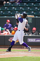 T.J. Williams (4) of the Winston-Salem Dash follows through on his swing against the Salem Red Sox at BB&T Ballpark on May 31, 2015 in Winston-Salem, North Carolina.  The Red Sox defeated the Dash 6-5.  (Brian Westerholt/Four Seam Images)