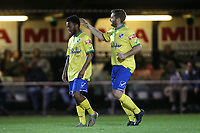 Mauro Vilhete of Wingate & Finchley scores the first goal for his team and celebrates with his team mates during Hornchurch vs Wingate & Finchley, Pitching In Isthmian League Premier Division Football at Hornchurch Stadium on 6th October 2020