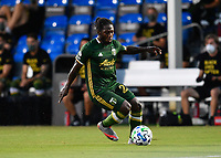 LAKE BUENA VISTA, FL - JULY 18: Yimmi Chará #23 of the Portland Timbers carries the ball during a game between Houston Dynamo and Portland Timbers at ESPN Wide World of Sports on July 18, 2020 in Lake Buena Vista, Florida.
