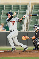 Austin Wynns (12) of the Delmarva Shorebirds follows through on his swing against the Kannapolis Intimidators at CMC-NorthEast Stadium on July 2, 2014 in Kannapolis, North Carolina.  The Intimidators defeated the Shorebirds 6-4. (Brian Westerholt/Four Seam Images)