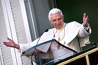 Pope Benedict XVI blesses the faithful during his Sunday Angelus address in his summer residence in Castel Gandolfo on the outskirts of Rome, Sunday July 6, 2008.