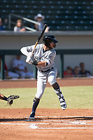Peoria Javelinas third baseman Weston Wilson (18), of the Milwaukee Brewers organization, at bat during an Arizona Fall League game against the Mesa Solar Sox at Sloan Park on October 24, 2018 in Mesa, Arizona. Mesa defeated Peoria 4-3. (Zachary Lucy/Four Seam Images)