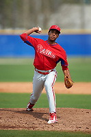 Philadelphia Phillies Adonis Medina (77) during a minor league Spring Training game against the Toronto Blue Jays on March 26, 2016 at Englebert Complex in Dunedin, Florida.  (Mike Janes/Four Seam Images)