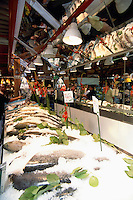 Granville Island Public Market, Vancouver, BC, British Columbia, Canada - Fresh Wild Coho Salmon, Red Spring Salmon, and Fish for Sale
