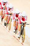 The team of Poland with Daria Pikulik, Natalia Rutkowska, Justyna Kaczkowska and Nikola Rozynska competes in the Women's Team Pursuit - 1st Round as part of the 2017 UCI Track Cycling World Championships on 13 April 2017, in Hong Kong Velodrome, Hong Kong, China. Photo by Marcio Rodrigo Machado / Power Sport Images