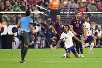 LAS VEGAS, NV - AUGUST 1: Gianluca Busio #6 of the United States looks for a call during a game between Mexico and USMNT at Allegiant Stadium on August 1, 2021 in Las Vegas, Nevada.