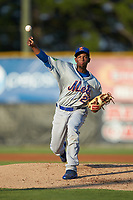 Kingsport Mets starting pitcher Willy Taveras (27) delivers a pitch to the plate against the Burlington Royals at Burlington Athletic Stadium on July 27, 2018 in Burlington, North Carolina. The Mets defeated the Royals 8-0.  (Brian Westerholt/Four Seam Images)