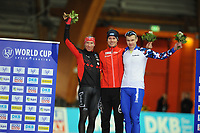 SPEEDSKATING: ERFURT: 19-01-2018, ISU World Cup, Podium 1500m Division B, Ted-Jan Bloemen (CAN), Simen Spieler Nilsen (NOR), Mikhail  Kozlov (RUS), photo: Martin de Jong