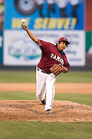 July 4, 2009: Yakima Bears pitcher Pedro Rodriguez toes the rubber during a Northwest League game against the Everett AquaSox at Everett Memorial Stadium in Everett, Washington.