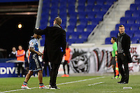 Harrison, NJ - Wednesday Feb. 22, 2017: Cristian Techera, Carl Robinson during a Scotiabank CONCACAF Champions League quarterfinal match between the New York Red Bulls and the Vancouver Whitecaps FC at Red Bull Arena.