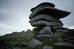 Cheesewiring and Druids chair, Nr Minions  Bodmin Moor. Cornwall England. Druids chair in distance