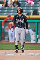 Carlos Asuaje (2) of the El Paso Chihuahuas bats against the Salt Lake Bees in Pacific Coast League action at Smith's Ballpark on May 1, 2017 in Salt Lake City, Utah. Salt Lake defeated El Paso 9-4.  (Stephen Smith/Four Seam Images)