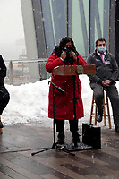STATEN ISLAND, NEW YORK-FEBRUARY 19, 2021: New York City Council Member Debi Rose makes remarks at press conference announcing the opening of Empire Outlets vaccination site for Covid-19 specifically for the residents of Staten Island held at Empire Outlets on Staten Island in New York City on February 19, 2021.   Photo Credit: mpi43/MediaPunch