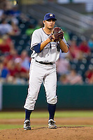 Blaine Hardy (36) of the Northwest Arkansas Naturals on the mound during a game against the Springfield Cardinals and the Springfield Cardinals at Hammons Field on July 30, 2011 in Springfield, Missouri. Springfield defeated Northwest Arkansas 11-5. (David Welker / Four Seam Images)