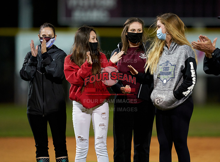 Riverview Rams women's golf presentation before a baseball game against the Sarasota Sailors on February 19, 2021 at Rams Baseball Complex in Sarasota, Florida. (Mike Janes/Four Seam Images)
