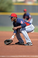 Cleveland Indians infielder Emmanuel Tapia (6) during an Instructional League game against the Kansas City Royals on October 9, 2013 at Surprise Stadium Training Complex in Surprise, Arizona.  (Mike Janes/Four Seam Images)