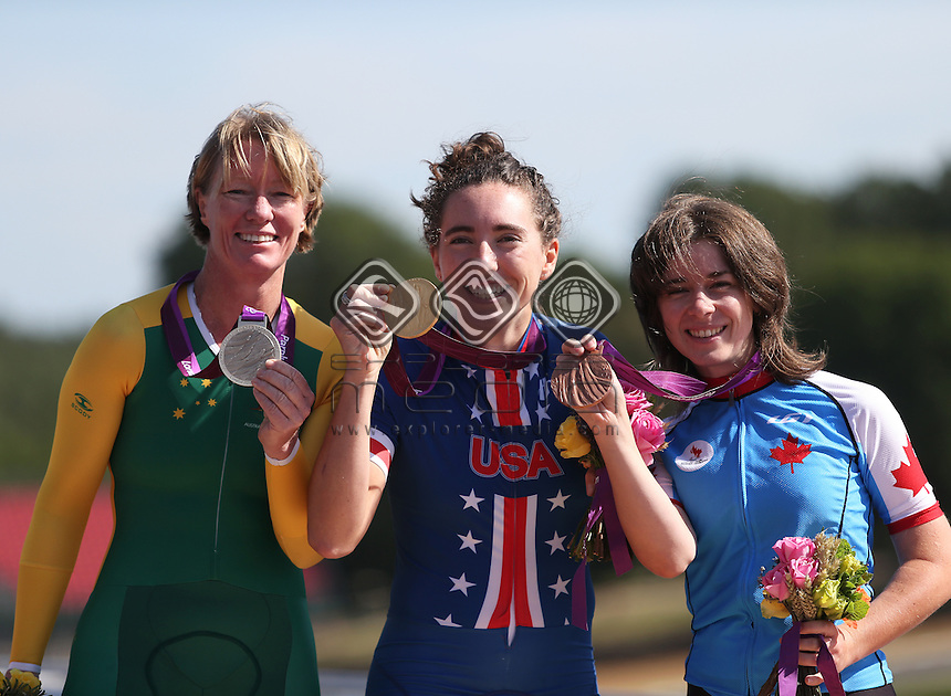 Susan Powell (AUS), Silver, Megan Fisher (USA), gold and Marie-Claude Molnar (CAN), Women's Individual C 4 Time Trial<br /> Cycling Road, Brands Hatch (Wednesday 5th Sept)<br /> Paralympics - Summer / London 2012<br /> London England 29 Aug - 9 Sept <br /> © Sport the library/Joseph Johnson