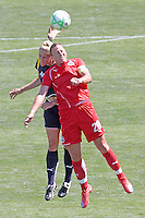 Abby Wambach #20 of the Washington Freedom battles Allison Falk #3 of the Los Angeles Sol for a loose ball during their WPS game at The Home Depot Center on June 7,2009 in Carson, California.  The Sol defeated the Freedom 3-1.