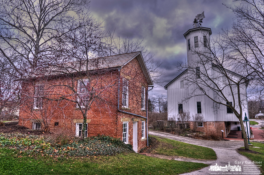 Exterior HDR photo of Everal home, carriage house and barn at Heritage Park in Westerville Ohio.