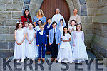 Pupils from Aghatubrid NS who made their First Holy Communion in the O'Connell Memorial Church in Cahersiveen on Saturday, pictured front l-r; Michaela Kelly, Kate O' Neill, Robbie O'Dwyer-Cronin, Kiana Santos, Faye O'Sullivan, back l-r; Willow Comyn, Doireann Lynch, Niall O'Shea, Rebecca O'Neill, Sofia Cournane with Mary Coffey, Denise Coffey, Fr. Larry Kelly and Sinéad Clifford O' Sullivan(Principal).