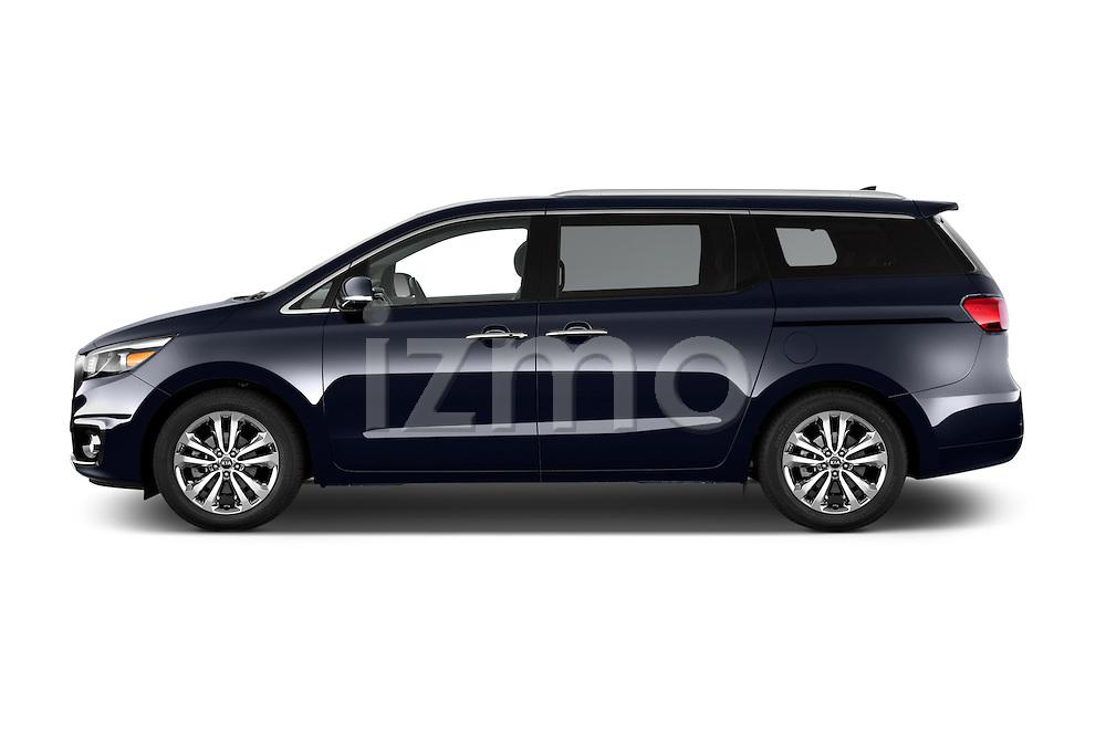 Car driver side profile view of a 2015 KIA Sedona LX Hybrid 5 Door Mini Van