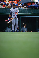 SAN FRANCISCO, CA:  Mike Piazza of the Los Angeles Dodgers waits in the on deck circle during a game against the San Francisco Giants at Candlestick Park in San Francisco, California on April 17, 1996. (Photo by Brad Mangin)