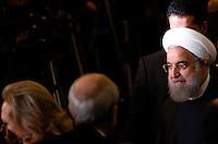 Il presidente dell'Iran Hassan Rouhani al termine del suo incontro col presidente del Consiglio in Campidoglio, Roma, 25 gennaio 2016.<br /> Iran's President Hassan Rouhani leaves at the end of his meeting with the Italian Premier at the Campidoglio capitol hill in Rome, 25 January 2016.<br /> UPDATE IMAGES PRESS/Riccardo De Luca