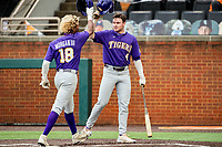 LSU Tigers first baseman Tre Morgan (18) celebrates a home run with Cade Doughty (4) against the Tennessee Volunteers on Robert M. Lindsay Field at Lindsey Nelson Stadium on March 27, 2021, in Knoxville, Tennessee. (Danny Parker/Four Seam Images)