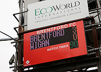 The scoreboard shows the final score during Brentford vs Wigan Athletic, Sky Bet EFL Championship Football at Griffin Park on 4th July 2020