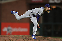 SAN FRANCISCO, CA - OCTOBER 9:  Phil Bickford #52 of the Los Angeles Dodgers pitches against the San Francisco Giants during Game 2 of the NLDS at Oracle Park on Saturday, October 9, 2021 in San Francisco, California. (Photo by Brad Mangin)