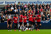 Saturday 17 August 2013<br /> <br /> Pictured: Manchester United Celebrate a goal<br /> <br /> Re: Barclays Premier League Swansea City v Manchester United at the Liberty Stadium, Swansea, Wales