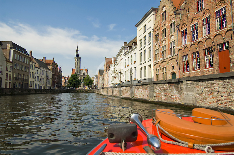 Belgium, Bruges, Tourist sightseeing boat on canal