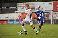Sarah Wijnants (11) of Anderlecht and Alixe Bosteels (16) of AA Gent Ladies pictured during a female soccer game between RSC Anderlecht Dames and AA Gent Ladies  on the fourth matchday of the 2021 - 2022 season of Belgian Womens Super League , friday 10 th of September 2021 in Overijse , Belgium . PHOTO SPORTPIX | DIRK VUYLSTEKE