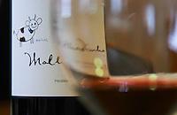 Bottle of Malhadinha. Drawing by Matilde. Seen through a glass. Herdade da Malhadinha Nova, Alentejo, Portugal